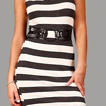 Cowl Neck Sleeveless Knit Striped Dress in Gray & White with Belt