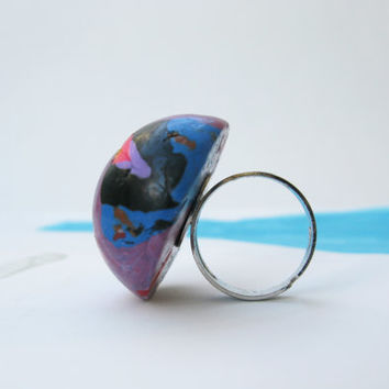 Whimsical Ring, Polymer Clay Ring, Handmade Violet Ring, Big Dome Ring, Splatter Ring, Teens Gift, Blue Black Lilac