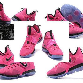 Factory Authentic LeBron 14 XIV Think Pink Pink Flash Aunt pearl Brand sneaker