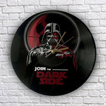 Star Wars Join the Dark Side painted vinyl record clock, Darth Vader, Wall clock, Gift for geek