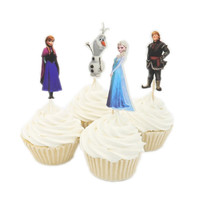 Frozen Cupcake Toppers Cake Decorating Supplies - Elsa, Anna, Kristoff, Olaf