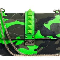Valentino Neon Green Camouflage Leather Rocklock Shoulder Bag