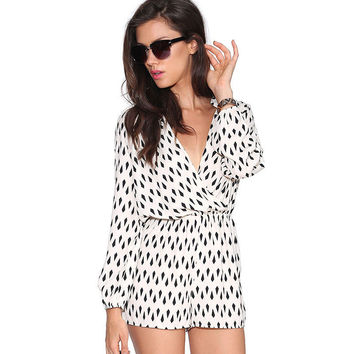 White Diamond Print Wrap Long Sleeve Chiffon Romper