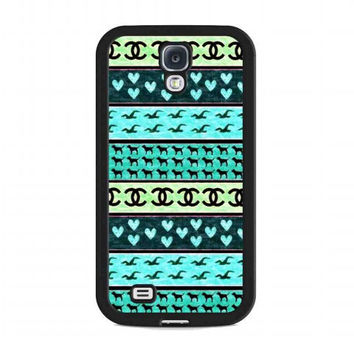 red hollister seagulls chanel sign hearts stripes For samsung galaxy s4 case