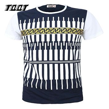 Man's T-Shirt Cotton T shirt Striped Shirt O-Neck Tees Piano Pattern Men'S T-Shirts