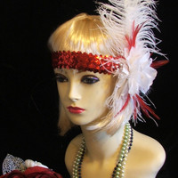 vintage 1920s 1930s Flapper head dress head and ostrich feather hat downton abbey great gatsby chicago bugsy malone style