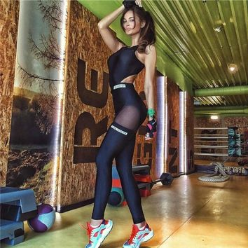 mesh bodysuit women fitness jumpsuit hollow out open back female backless sexy work out workout excise sportwear cut out P1156Y
