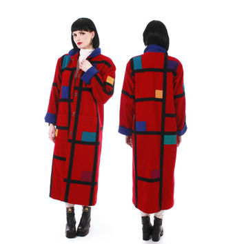 Vintage Coloratura Color Block Wool Coat Rare Red Mondrian Art to Wear Long Winter Retro 80s Clothing Women Size Medium