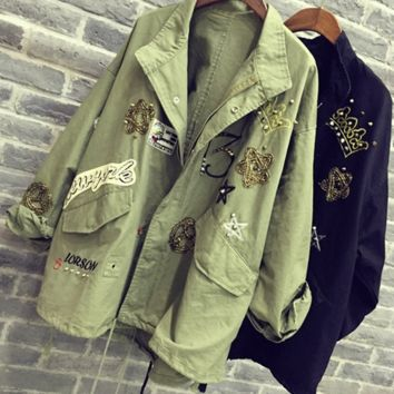Fadhion cute  dark green frock coat embroidered patch rivet coat LOWEST PRICE