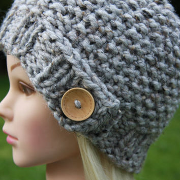 Hand Knit hat- Women's hat- Ash tweed with natural wooden button- winter hat- Rustic Mega Chunky with wool