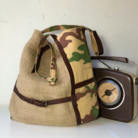 leather jute tote bag gift for her, womens bag with original design, military bag with fabric cotton and leather shoulder, made in italy