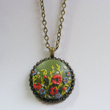 Poppies Pendant - Handmade Jewelry, Polymer Clay Applique, Flower Pendant Necklace,August Birthday Gift,Gift for Leo,Gift for Virgo