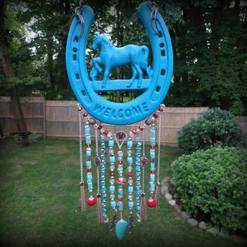 Beaded Garden Suncatcher, Southwestern Horseshoe Suncatcher, Sun Catcher for Yard, Outdoor Decor, Welcome Sign, Suncatcher for Yard