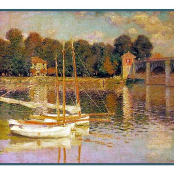 Boats at the Bridge in Argenteuil inspired by Claude Monet's impressionist painting Counted Cross Stitch or Counted Needlepoint Pattern