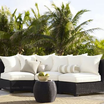Palmetto All-Weather Wicker Rounded Sectional - Black