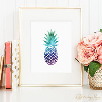 Faux holographic foil pineapple, printable wall art decor, minimalist art, art for office, art for home (Instant digital download - JPG)