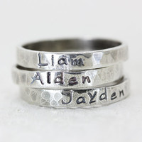 Personalized Stack Ring - Sterling Silver Stackable Rings - Hand Stamped Jewelry -Names Words Mantras- Christina Guenther
