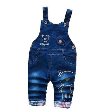 Boys Overalls Kids Girls New Spring Denim Jumpsuit Pants Children Boys Cartoon Jeans Strap Trousers for Baby Pants