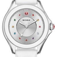 Women's MICHELE 'Cape' Topaz Dial Silicone Strap Watch, 40mm - White/ Silver