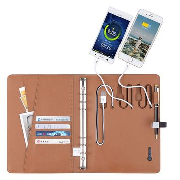 Business Notebook with 6000 mAh Power Bank 8G USB PU Leather Notebook  Writing Pad Business Gift Office Supply Composition Book