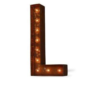 "36"" Letter L Lighted Vintage Marquee Letters (Modern Font/Rustic)"