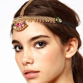ONETOW Fashion bohemian national customs Su Baoshi diamonds hair accessories hair chain headlamps