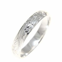 Sterling silver 925 Hawaiian plumeria scroll 4mm band ring size 1 - 12