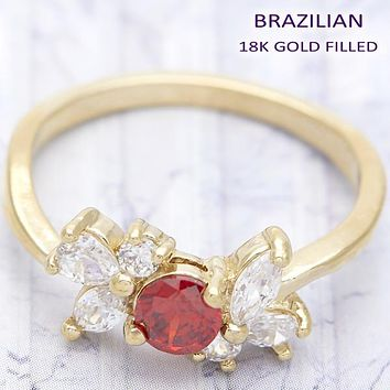 Gold Layered Women Bow Multi Stone Ring, with Garnet Cubic Zirconia, by Folks Jewelry