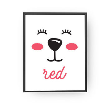 Red Color Print, Typography Poster, Kids Print, Nursery Decor, Animal Poster, Classroom Art, Learning Poster, Nursery Art, Educational Print