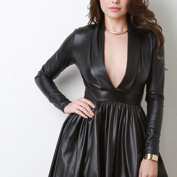Faux Leather Plunge Neck Skater Dress