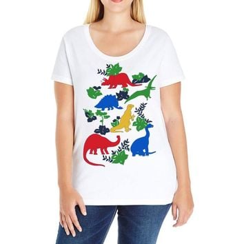 dinosaurs Ladies Curvy T-Shirt