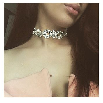 Womens rhinestone necklace Crystal choker Chokers 2017 Collar chocker chunky Statement necklaces wedding choker