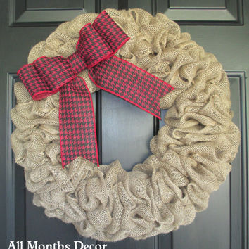Burlap Wreath with Red Black Houndstooth Bow, Country, Spring Easter Fall Winter, Year Round, Fall, Porch Door Decor