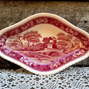SPODE TOWER, Relish Dish, Side Plate, Oblong Dish, Appetizer Plate, Red Transferware, English Transferware, Serving, England