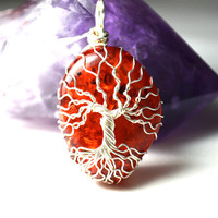 Amber Tree of Life Pendant Wire Wrapped Faux Amber Gemstone Tree Necklace Artisan Pendant Fiery Orange Celtic Yggdrasil Pendant