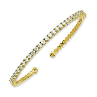 Sterling Silver Gold-plated 31 Stone CZ Cuff Bracelet
