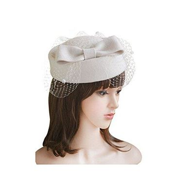 LEORX Women Dress Fascinator Wool Felt Pillbox Hat with Bow Veil (White)