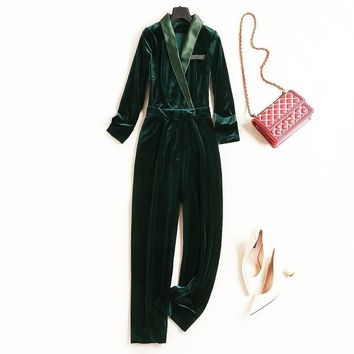 Women high quality sexy velvet jumpsuit deep v-neck patchwork satin fitted jumpsuit overalls new green black