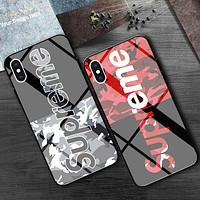 Boys & Men Supreme Toughened Glass Handset Shell Case iPhone 8 iPhone 8 Plus iPhone X iPhone XS iPhone XS MAX iPhone XR 6 6s 6plus 6s plus iPhone 7 iPhone 7 plus
