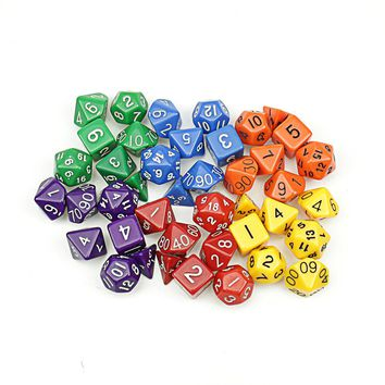 6 colors 7Pcs/lot Clear Sided Die D4 D6 D8 D10 D12 D20 MTG Magic the G