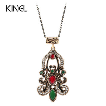 Vintage Indian Jewelry Fashion Pendant Necklace For Women Ancient Gold Color Resin Choker Bohemia Bijoux Bar Necklace