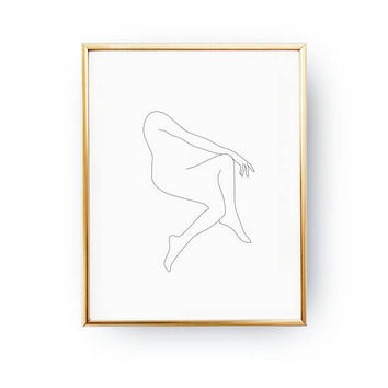 Feminine Posture Print, Woman Silhouette, Minimalist Female Body, Female Art, One Line Figure, Simple Sketch, Black And White,Minimalist Art