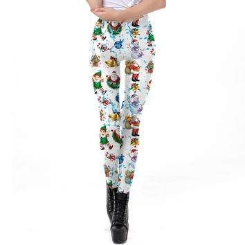 Cartoon Santa Claus Print Women Elastic Skinny Christmas Leggings