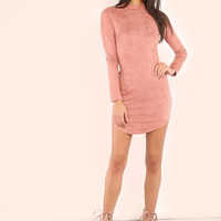 Mock Neck Curved Hem Bodycon Dress BLUSH | MakeMeChic.COM