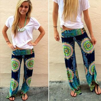 ca DCCKTM4 New Women Casual Boho Floral Harem Yoga Running Loose Long Pants Trousers [8403196103]