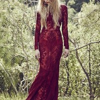 For Love & Lemons Ethereal Maxi Dress in Crimson