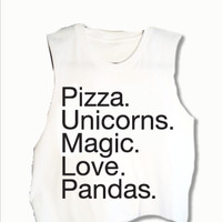 Pizza Unicorns Magic Love Pandas Crop Tank