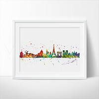 Paris Skyline 2 Watercolor Art Print