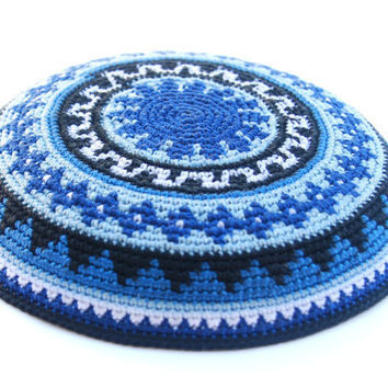 Geometric Blue Black & White crochet Kippah by ShoshiStudio