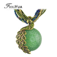 Ethnic Jewelry Bohemian Colorful Women Beads Natural Stone Peacock Pendant Necklace With Multilayer Chain Turkish Jewelry